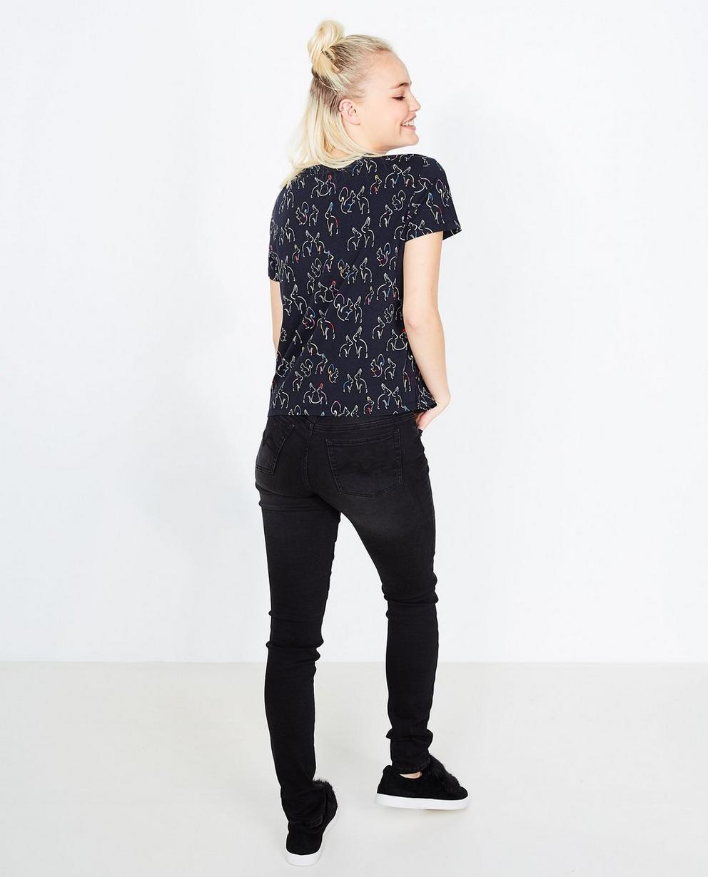 T-shirt met konijnenprint - en velvet borstzak - Grogy